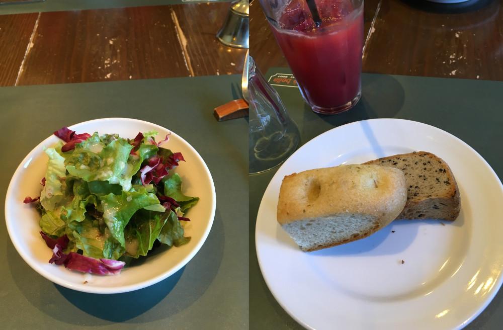 LA VITA e bella(ラヴィータエベラ)のランチメニュー、サラダとパン